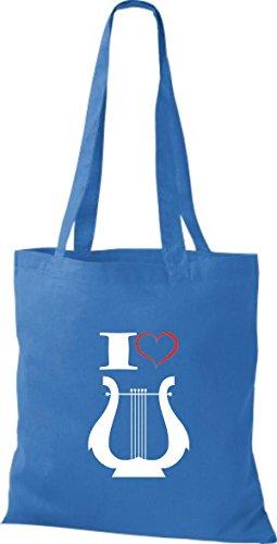 Shirtstown Stoffbeutel Musik I love Hand Harfe Harp Royal