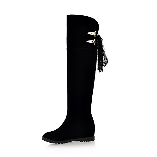 VogueZone009 Damen Blend-Materialien Rund Zehe Hoch-Spitze Stiefel Schwarz-Lesbie