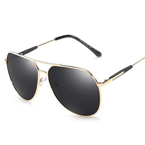 Herren Classic Metal Polarized Driving Sonnenbrille mit rundem Rahmen Polarisierte Sonnenbrille Brille (Color : Gold, Size : Kostenlos)