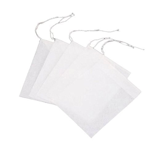 Kornblume 100 Pcs Disposable Drawstring Seal Filter White Empty Tea Bags Test