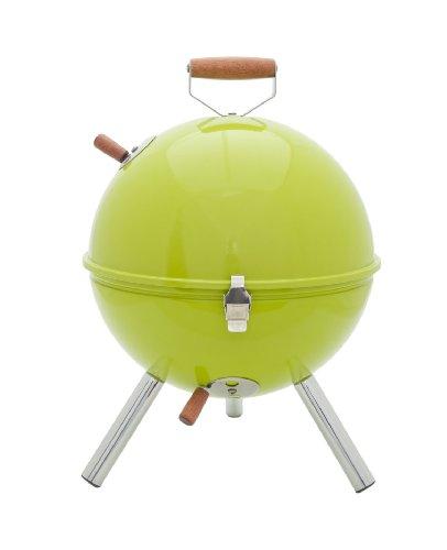 Idelice CU496 857A Barbecue à Charbon Nomade Forme Boule pour 2/3 Personnes Inox/Bois Vert Anis