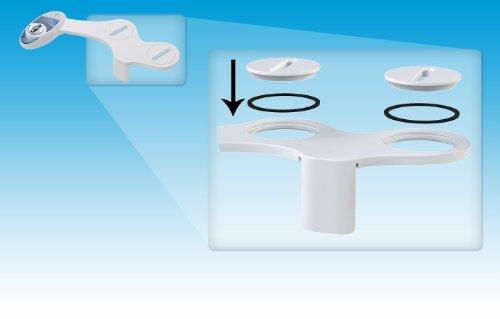 Neo, Bidet Luxe 320 selbstreinigende Dual DÜSE-Warm und Kaltwasser-Bidet-Aufsatz für die Toilette, elektrisch, mechanisch, Blau/Weiß
