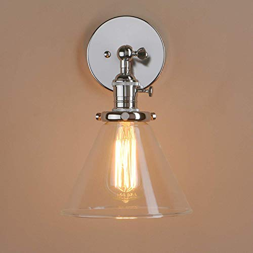 W-LI Industrielle Vintage Wandleuchte Loft Bar Küche Korridor Leuchten Wandleuchte Wandleuchte Lampe Leuchte E27 Kegel Klarglas Licht Schatten - Kegel-wandleuchte Licht
