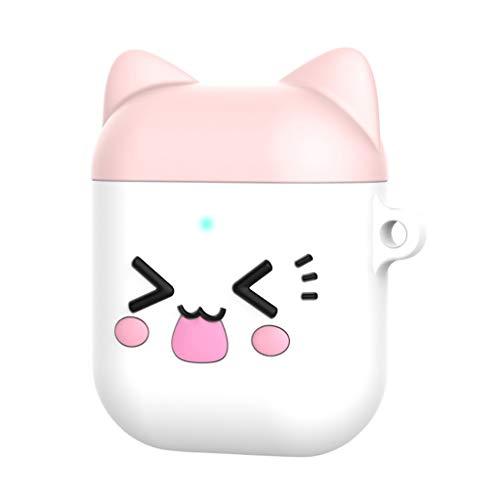 Sansee Hülle für Apple Air-Pods 1/2, Cute Cartoon Silikon Schutzhülle Hülle Case Schlüsselanhänger für Mädchen Kinder Jungen (A) Cute Apple