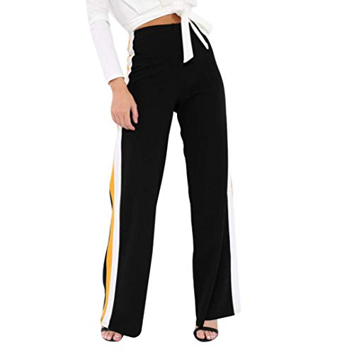 beautyjourney Pantalones casuales a rayas laterales para mujer, Pantalones largos de cintura alta slim con cintura ancha Leggings de yoga elásticos de cintura elástica