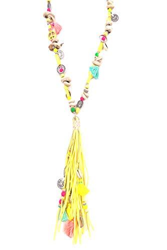 Bellissima bijoux- Bijoux Fantaisie-Mode Femme- Sautoir en Bois avec Pompon (Jaune)