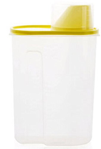 Faithtur Plastic Dry Food Cereal Storage Box Dispenser Container with Lid for Rice Pasta (2.5L, Yellow)