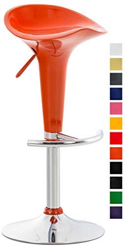 CLP Sgabello Design Kiel in Similpelle Sgabello da Cucina Girevole e con Altezza Regolabile I Sgabello da Bar Imbottito e con Poggiapiedi Arancione Cromato