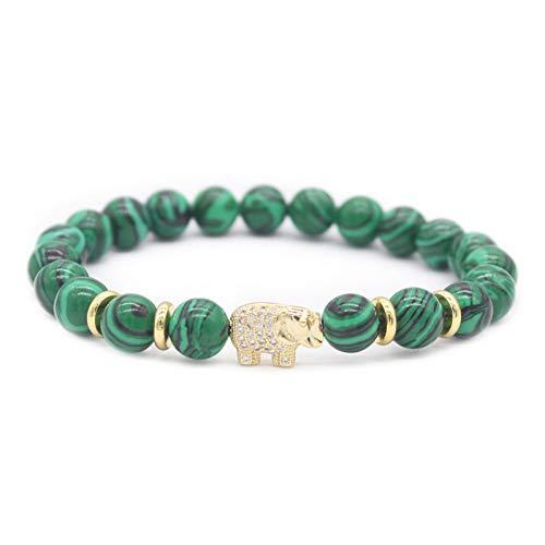 HMKLN8mm grüne Stein Perlen Armbänder für Frauen Kristall Elefanten Armbänder & Armreifen (Größe Elefant Leben Gefüllte)