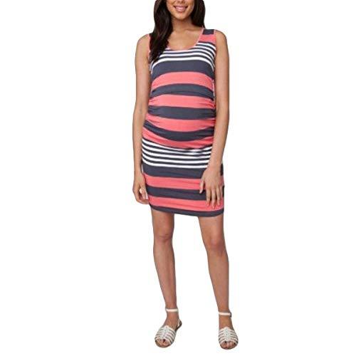 Damen Schwangerschaftskleid Stripe Print Strappy Shirt Ärmelloses O Neck Kleidung Bodycon Comfy Umstandskleid Lässig Umstandsmode Kleid Für Schwangere (Color : Pink, Size : M) Pink Strappy Kleid