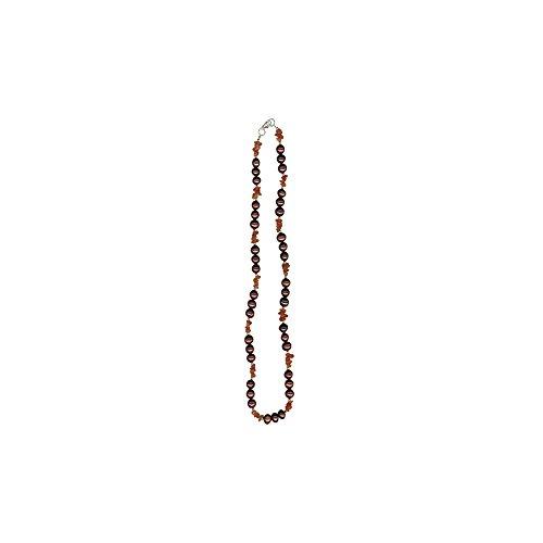 Halskette mit Karneolperlen und Kastanienbrauner Süßwasser-Zuchtperle Silber -