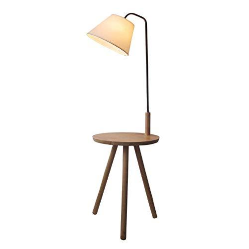 Cwill moderne minimalistische Stehlampe Tischleuchte Holzstativ einfaches Leben weißer Stoff Schatten kreative Wohnzimmer Studie Leuchte, Walnuss Farbe Tabelle, 6W reine weiße Birne -