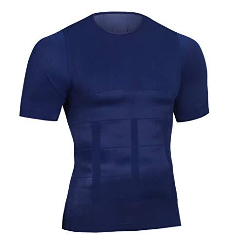 GOUNURE Männer Kompressions T-Shirt für Weight Lost Body Shaper Workout Fitness (Cupid Kostüm Männer)