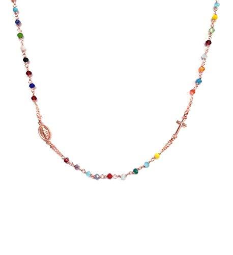 Kurze Rosenkranz-Halskette für die Dame, aus Silber 925 und farbigen Steinen - Kreuz und kleines Madonnen-Medaillon - Linea Italia, Schmuck Made in Italy