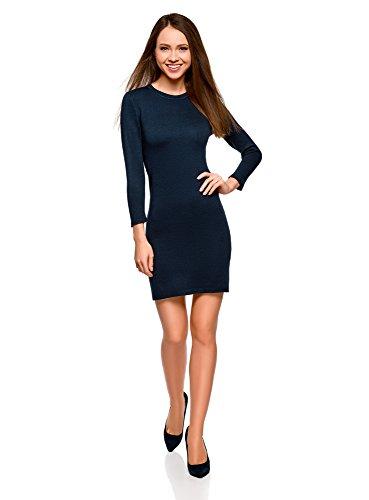 oodji Ultra Damen Basic Kleid mit 3/4-Ärmeln, Blau, DE 36 / EU 38 / S