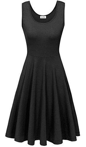 KorMei Damen Ärmelloses Beiläufiges Strandkleid Sommerkleid Tank Kleid Ausgestelltes Trägerkleid Knielang Schwarz M -