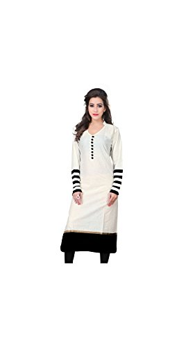 Varibha Girl's Branded Stitched Solid White Cotton Low Price Kurti (Best Gift For Your Friend, Girlfriend, Wife, Sister, Casual, Free Size alterable till 42)