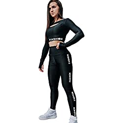 Tookang Yoga Conjunto de Mujer Chaleco Deportivo Manga Larga Top and Leggings Gimnasio Ropa Chándal Yoga Fitness