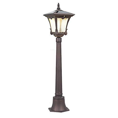 ZYY Solar Licht Outdoor Garten Säule Lichter Hause Super Helle Wand Außen Post Laterne Spalte Rasen Lampe Intelligente Lichtsteuerung Rostfrei Wasserdicht IP55 (Dark Coffee Gold) -