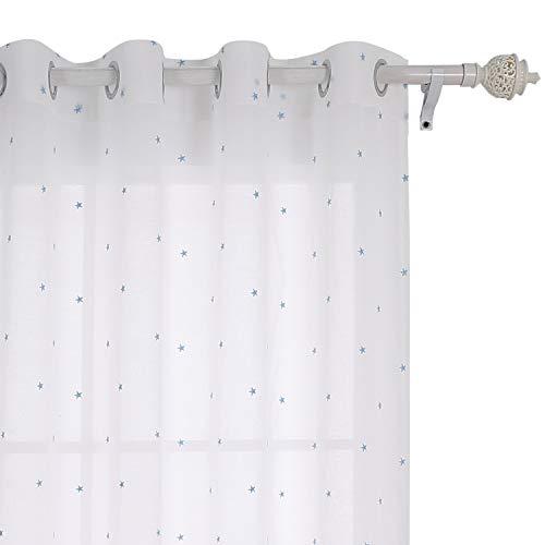 Deconovo tenda voile ricamate stella pattern tenda trasparente con occhielli 140x240 cm celeste un pannello