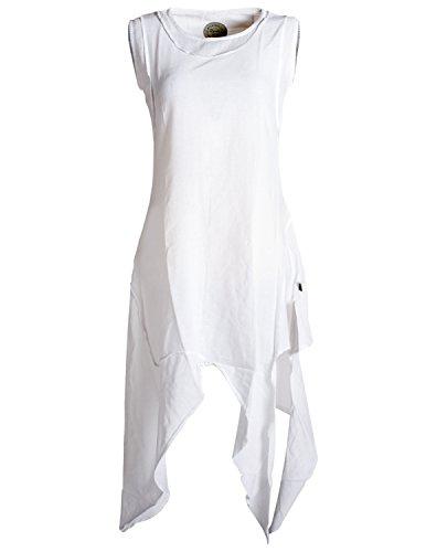 Vishes - Alternative Bekleidung - Asymmetrisches armloses Lagenlook Zipfelkleid weiß 38-40 -