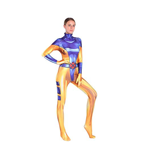Kind Erwachsener X-Men: Dark Phoenix Kostüm Superhelden Cosplay Verkleidung Halloween Mottoparty Strumpfhosen 3D Druck Spandex Onesies,Adult-XL (Phoenix Kostüm Kinder)