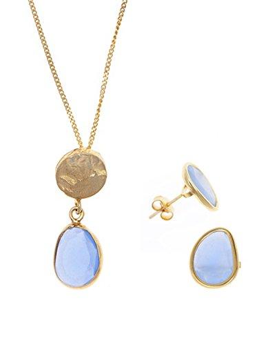 Córdoba Jewels | Conjunto de Gargantilla y Pendientes en Plata de Ley 925 bañada en Oro. Diseño Martelé Calcedonia Oro