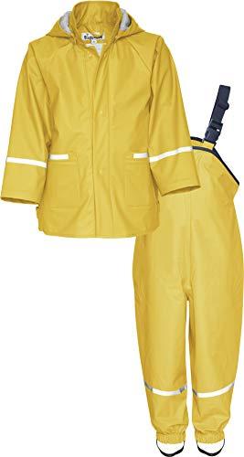 Playshoes Baby-Jungen Matschanzug, Regenanzug, Regen-Set Basic Regenjacke, (Gelb 12), (Herstellergröße: 80)