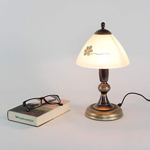 Auf Einem Floral Tisch Lampe (Gemütliche Tischlampe Messing Optik Glas Ø17,5cm Lampe Landhausstil Tischleuchte Nachttischlampe)