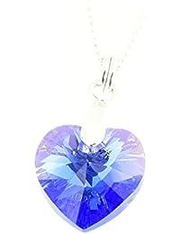 pewterhooter Halskette mit einem Saphir-blauen Kristall-Herz-Anhänger von Swarovski®, aus 925 Sterlingsilber, für Damen