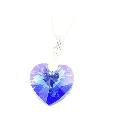 pewterhooter Halskette mit einem Saphir-blauen Kristall-Herz-Anhänger von Swarovski, aus 925 Sterlingsilber, für Damen