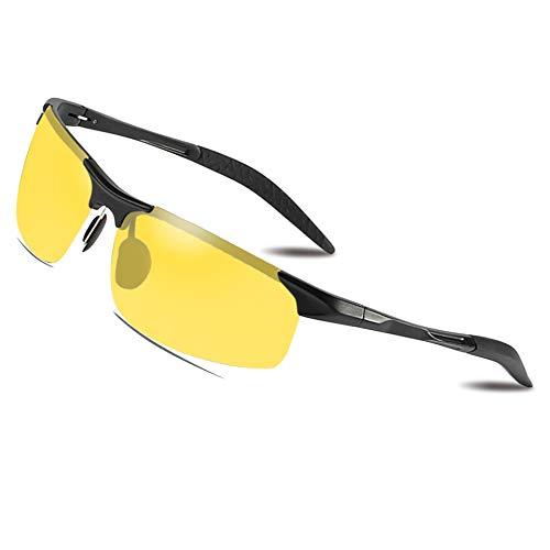 Bircen Nachtsichtbrille autofahren, Nachtfahrbrille Herren und Damen mit UV400 Schutz polarisierten gelbe Gläser, gegen blendendes Licht für Outdoor-Aktivitäten in der Nacht