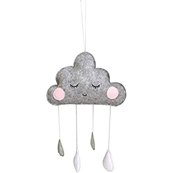 Vosarea Cloud and Raindrop Nursery Ceiling Mobile Crib Mobile Photography Prop Kids Room Baby Shower Hanging Decoration White and Golden