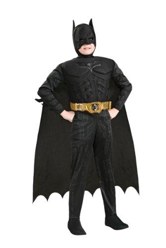 fasching batman Batman - Kinderkostüm mit Muskeln, 4-teilig, günstiges Fasching Comic Kostüm - M