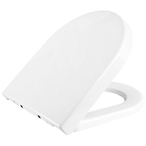 HOMFA WC Sitz Toilettensitz mit Absenkautomatik Duroplast Quick-Release Edelstahl Scharniere überlappend Toilettendeckel Weiß D-Form WC-Deckel