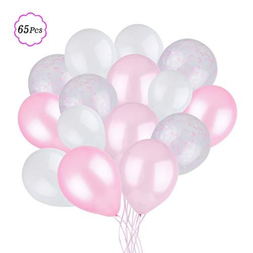 Laxstory 65 Stück Luftballons Rosa Weiß Latex Helium Ballons für Geburtstagsfeier, Junggesellenabschied Frauen, Babyparty, Hochzeit, Valentinstag Deko-30cm