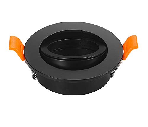 2Stück LED Deckenleuchte Rahmen rund Fassung Halterungen verstellbar Aussparung 65mm 82*25MM schwarz -