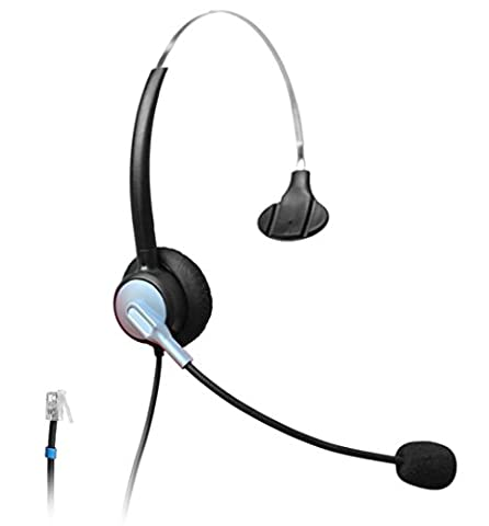 Wantek Monaural Call Center Telephone Headset Headphone with Mic for Plantronics M10 M12 Amplifier and Cisco Unified IP Phones 7940 7941 7942 7945 7960 7961