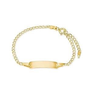 amor Identarmband für Kinder Unisex für aus 375 Gold, längenverstellbar 12+2 cm