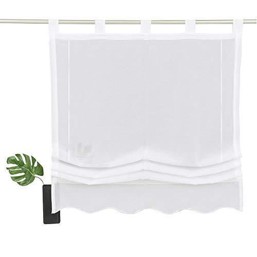 NECOHOME Baumwolle Raff Vorhang im Landhausstil Schlaufen Zugrollo mit Stickerei Überbackener Unterseite Halbtransparent Fenster Gardinen für Küche (weiß, 120x140cm)