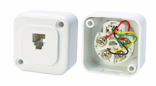 Leviton C0252-W Surface-Mount Mini Phone Jack, 6-Position, 4-Conductor, White by Leviton (Surface Mount Phone Jack)
