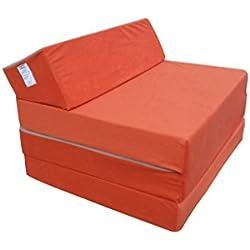 Matelas lit fauteuil futon pliable pliant choix des couleurs - longueur 200 cm (30942-Orange-Microfiber)