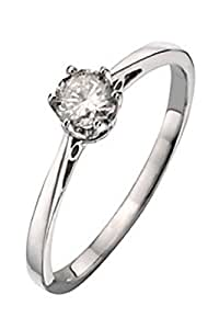Romantic 925 Sterling Silver Ladies Solitaire Engagement Diamond Ring Brilliant Cut 0.25 Carat HI-I3 Size J