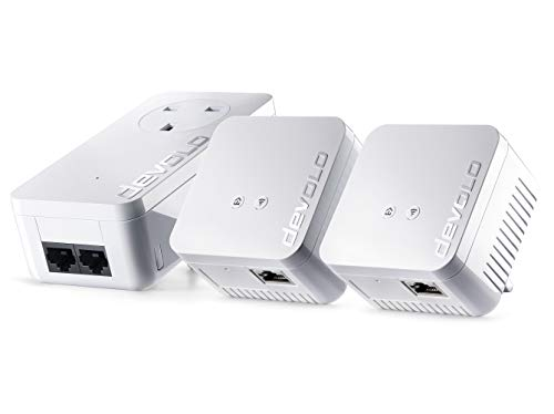 Price comparison product image devolo dLAN 550 WiFi Network Kit Powerline triple pack,  300 Mbps over WiFi,  1x Powerline adaptors with 2 LAN ports,  2x WiFi repeater with 1 LAN port,  PLC network adapter,  WLAN Booster,  whole home wifi,  white