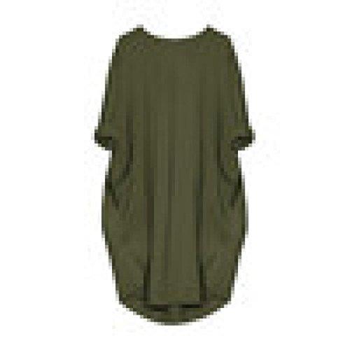 Kleid Damen Tasche Lose Rundhalsausschnitt Beiläufig Lange Oberteile Übergröße (Mädchen Türkise Kleider)