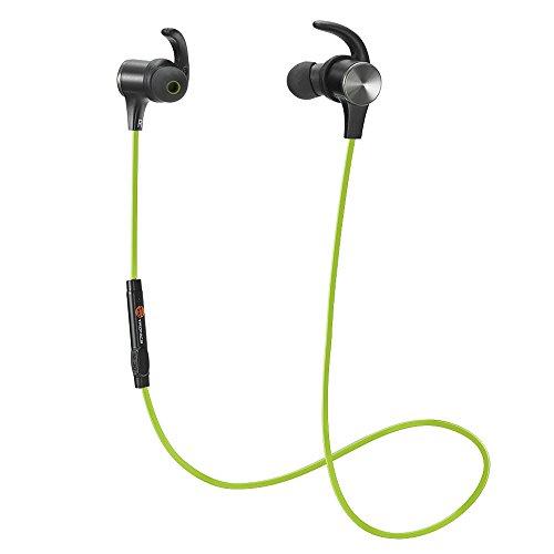 Magnetiche, TaoTronics Auricolari Sportivi Wireless Stereo (4.1, IPX5, aptX, A2DP, 6 ore di Riproduzione, Microfono Incorporato, CVC 6.0 ) per iPhone, Galaxy, Tablet, MP3, ecc. – Verde