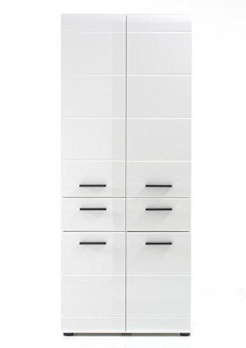 """Hochschrank \""""Lutz\"""", weiß/weiß Hochglanz, Badezimmerschrank, 60 x 182 x 31 cm, Badschrank, Badhochschrank"""