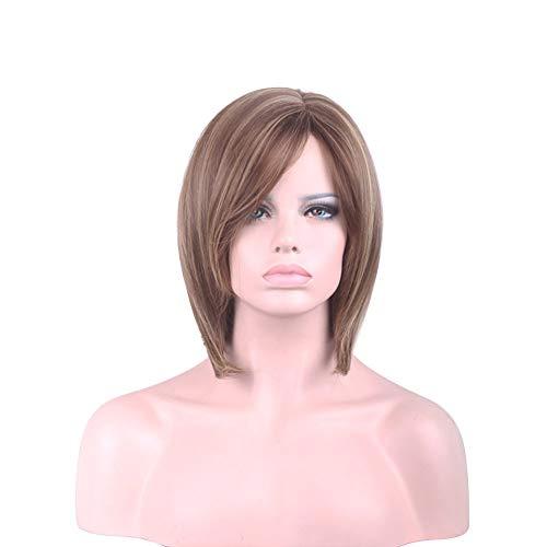 Homeofying Damen Perücke, 1920er-, 80er-, 50er-Jahre-, Seitenscheitel, Farbverlauf gemischte Farbe, Schulterlänge, kurzes, glattes Haar, voller Bob-Perücke, schräg geschrägter Pony Multi