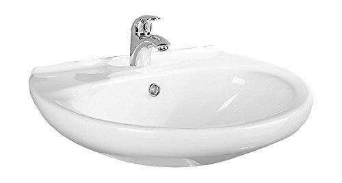 Waschtisch Aveiro | 55 cm | Weiß | Waschbecken | Waschplatz | Bad | Badezimmer | Gäste-WC | Keramik | Design | Mit Überlaufschutz