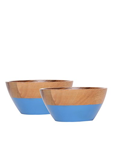 Seashell Set of 2 Brown Mango Wood Serving Bowls 15.24 cm x 15.24 cm x 7.6 cm, For Kitchen Tools, Perfect Housewarming Gift Chopping Bowl Board